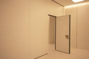 Puerta de paso situada en uno de los paneles especiales para aislar acústicamente un espacio de otro u otros.